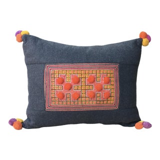 Vivid Applique Hmong Textile Pillow with Pom Poms