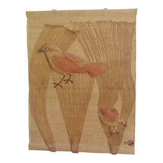 Vintage Modern Don Freedman Woven Bird Tapestry Wall Art For Sale