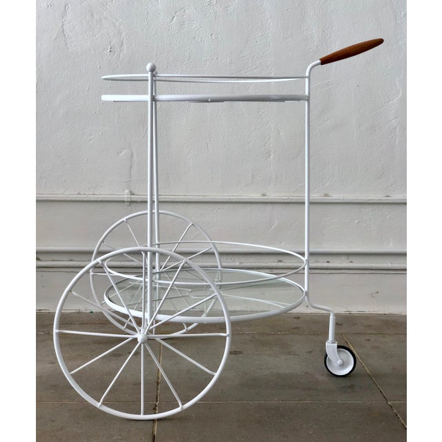 White White Vintage Indoor Outdoor Patio Bar Cart with Wooden Handle For Sale - Image 8 of 13