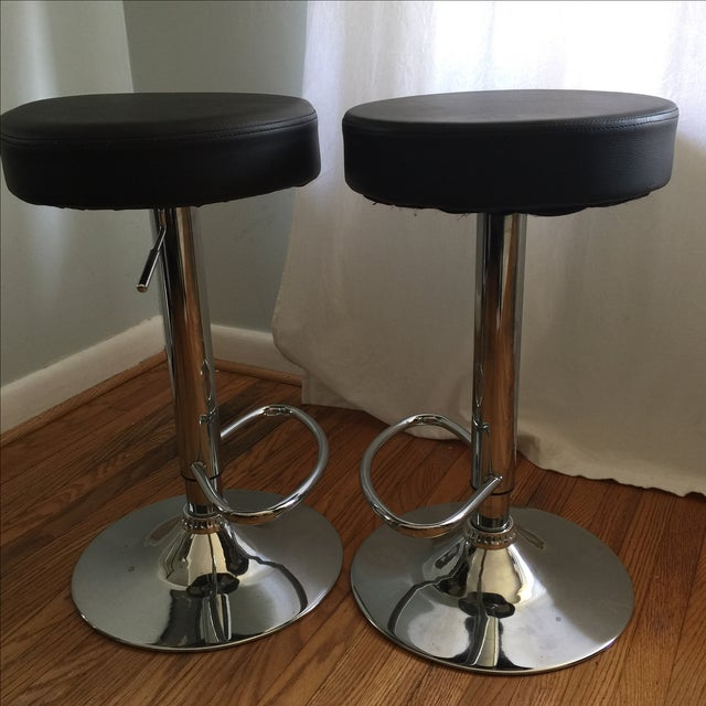 Leather & Chrome Adjustable Bar Stools - A Pair - Image 3 of 6