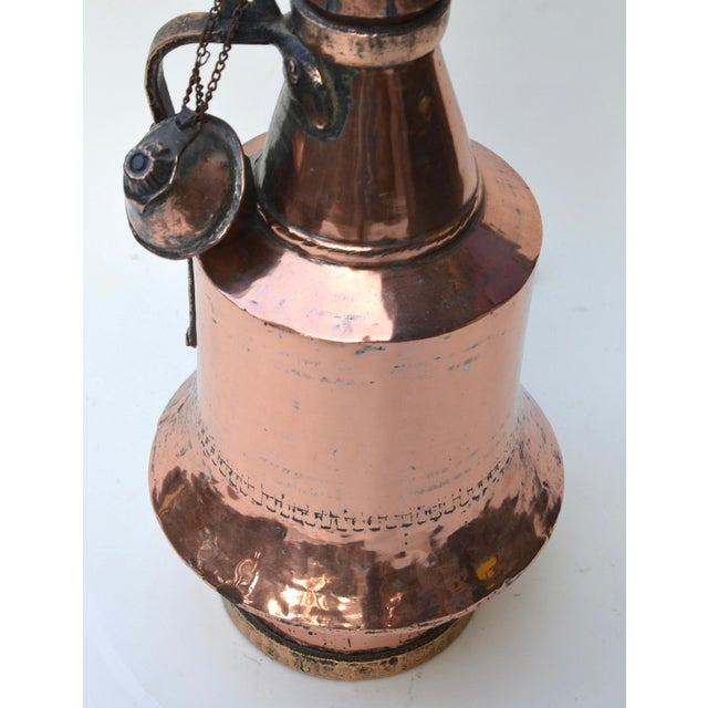 Antique Anatolian Copper Vessel Lamps - A Pair For Sale - Image 4 of 9