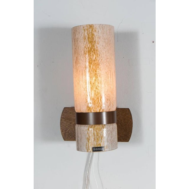Mid-Century Modern Handsome Pair of Sconces in Textured Yellow and White Glass by Doria For Sale - Image 3 of 7