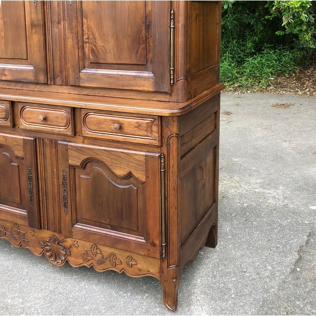 Brown 19th Century Country French Fruitwood Buffet a Deux Corps For Sale - Image 8 of 13