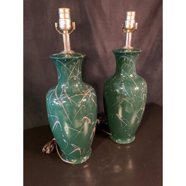 Vintage 90's Splatter Paint Lamps - a Pair For Sale - Image 4 of 6