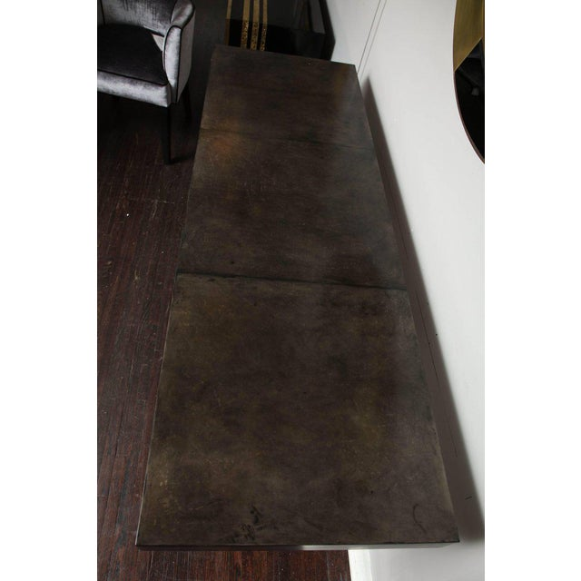 Mid-Century Modern Custom Charcoal Goatskin Console with Umber Gold Leaf For Sale - Image 3 of 9