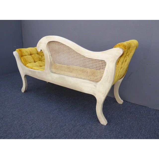 French Provincial White Cane & Gold Velvet Bench Settee For Sale - Image 5 of 11
