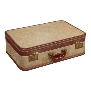 1940s Vintage Linen Suitcase For Sale