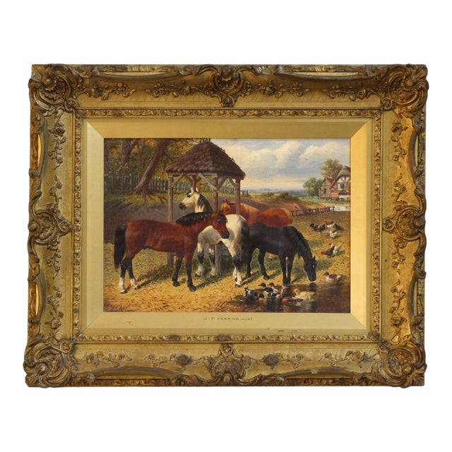 19th Century Country Scene Oil Painting on Canvas by John Fredrick Herring Jr. For Sale