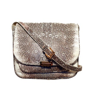 Trussardi Grey and White Ring Lizard Messenger Shoulder Bag For Sale