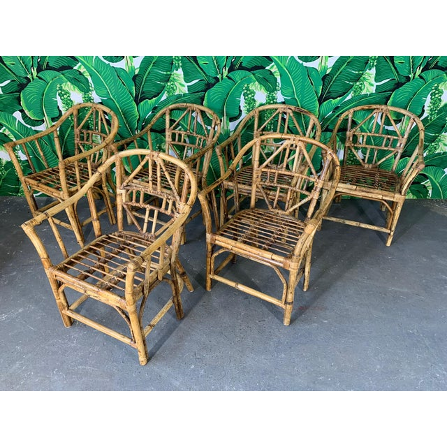 Mid-Century Modern Brighton Style Pavilion Rattan Dining Chairs - Set of 6 For Sale - Image 3 of 9
