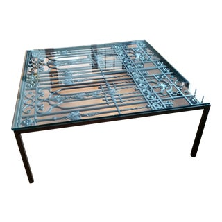 Hand Forged Metal Architectural Gate Coffee Table