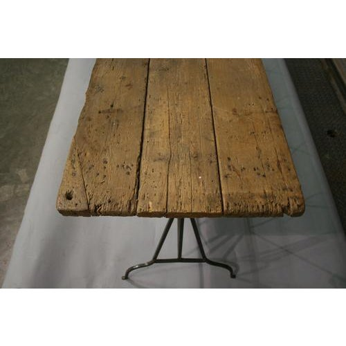 French 20th Century Industrial Wood Top and Iron Base Console Table For Sale - Image 3 of 5
