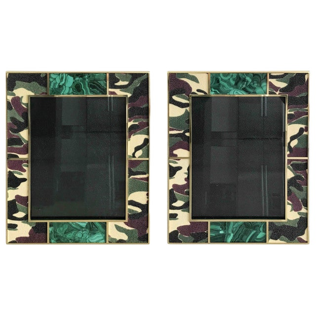 Camoflauge colored shagreen leather with malachite inserts and 24-karat gold-plated picture frame by Fabio Ltd Height:...