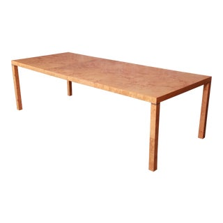 Milo Baughman Style Burl Wood Parsons Extension Dining Table by Lane, Newly Restored For Sale