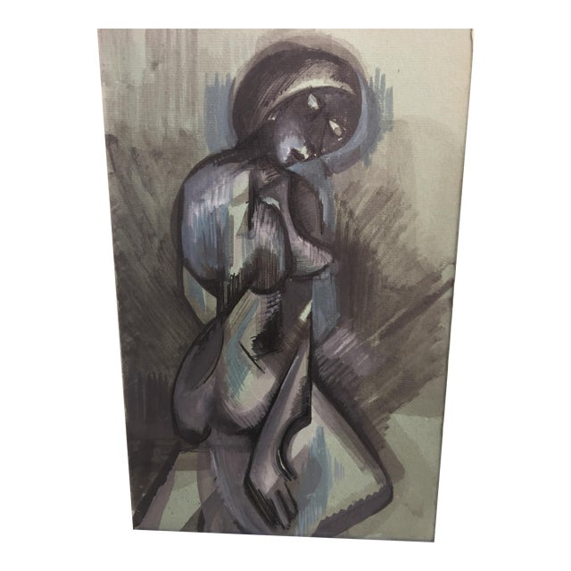 Abstract Figurative Blue and Gray Watercolor Painting - Image 1 of 4