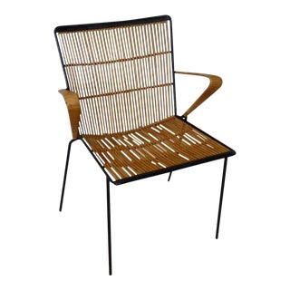 Wrought Iron Frame Franco Albini Style Rattan Chair