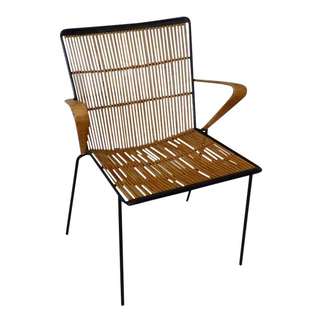 Wrought Iron Frame Franco Albini Style Rattan Chair For Sale
