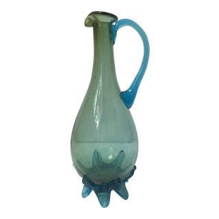 Vintage Turquoise Art Glass Footed Vase