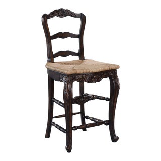 New Bar Height Stool French Country Carved Wood For Sale