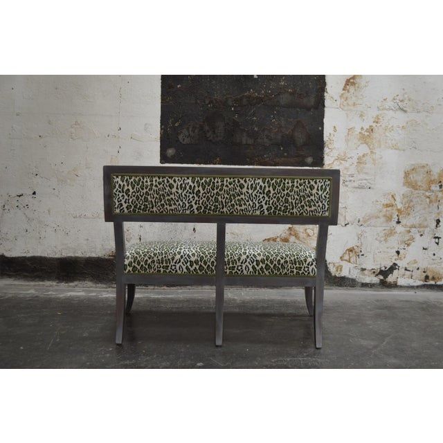 Gray Dining Banquette in Green Leopard For Sale In Atlanta - Image 6 of 8
