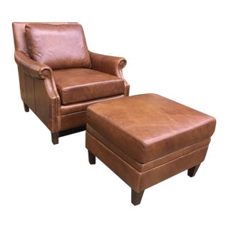 Transitional Brown Leather Chair & Ottoman Set -2 Pieces