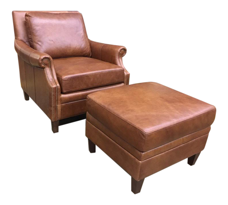 Transitional Brown Leather Chair U0026 Ottoman Set  2 Pieces