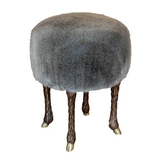 Marc Bankowsky - Stool With Goat Feet in Bronze and Velvet Mohair, France, 2016
