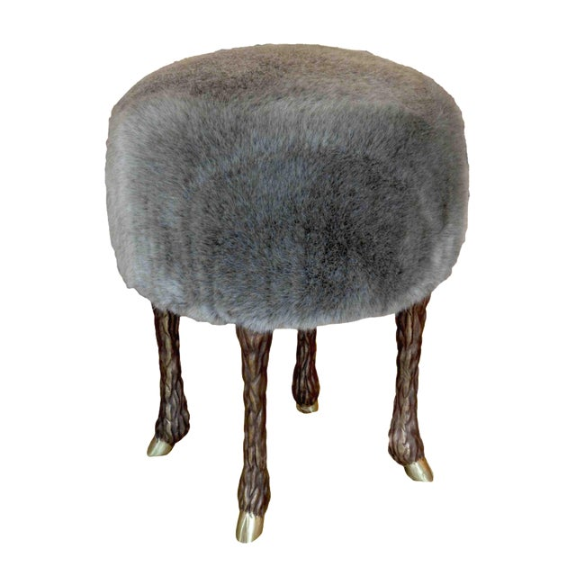 Marc Bankowsky - Stool With Goat Feet in Bronze and Velvet Mohair, France, 2016 For Sale