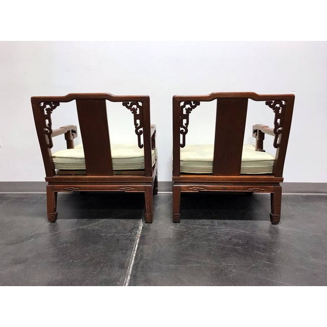 Asian Korean Carved Mahogany Lounge Chairs - Pair For Sale In Charlotte - Image 6 of 11