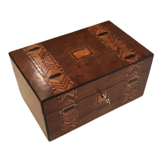 1900s Folk Art Tunbridge Marquetry Box For Sale
