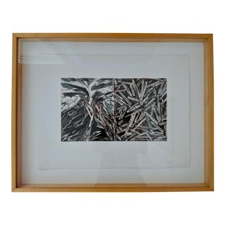 1980s Contemporary Charles Arnoldi Etching Aqautint Custom Framed in Maple For Sale