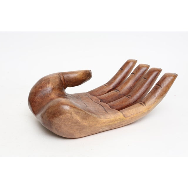 Vintage Oversized Hand Carved Solid Wood Hand Sculpture Tray - Image 7 of 7