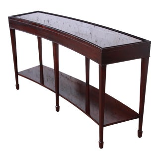 Barbara Barry for Baker Furniture Dark Mahogany Curved Console or Sofa Table For Sale