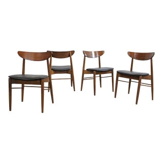 Set of 4 Mid-Century Modern H Paul Browning Shell Back Walnut Dining Chairs For Sale
