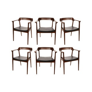 Set of Six Mid Century Style Dining Chairs - Armchairs For Sale