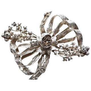 1940s Hobe Oversized Sterling Bow Brooch For Sale