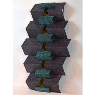 Cubist Style Sophisticated Metal and Brass Wall Sculpture Signed by Curtis Jere Preview
