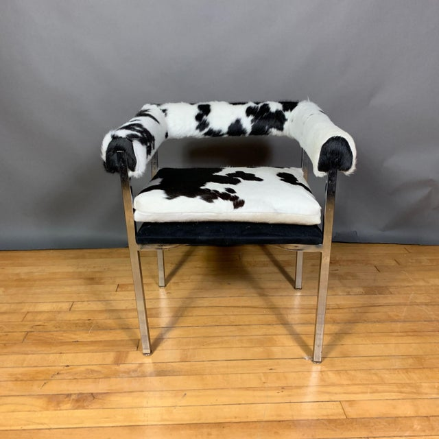 American Modern 1960s Chrome & Hide Rollback Armchair For Sale - Image 9 of 11