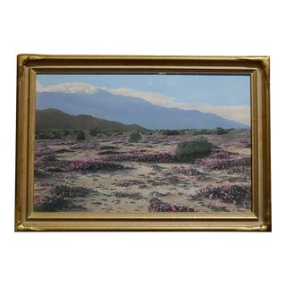 Stephen Willard Desert Landscape 1920s Signed Oil Painted Photograph For Sale