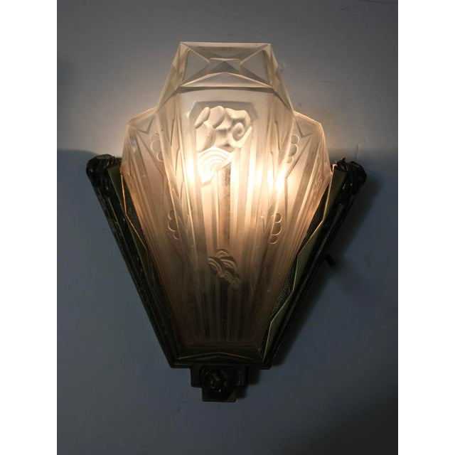 French Art Deco Geometric Sconces Signed by Gilles - a Pair For Sale - Image 9 of 10