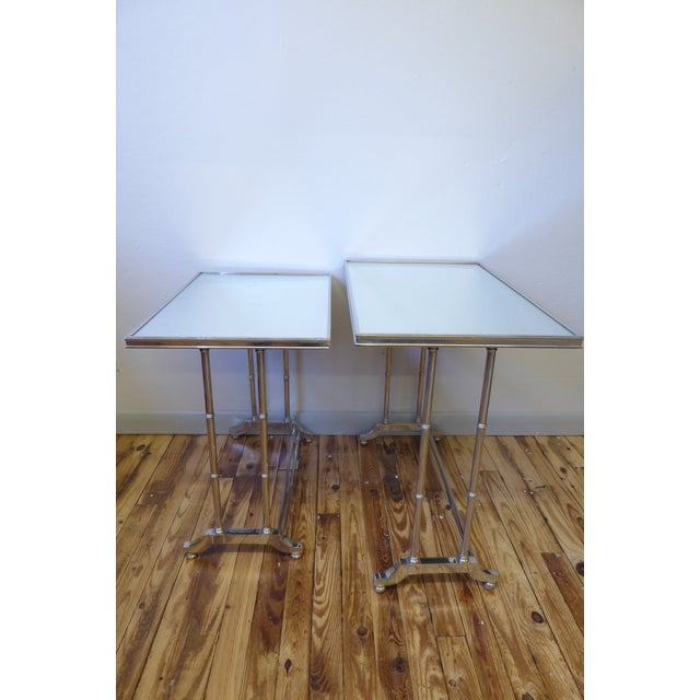 Maison Jansen 1950s Hollywood Regency Bronze Mirrored Nesting Tables - a Pair For Sale - Image 4 of 5