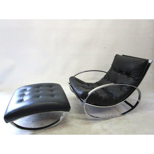 Milo Baughman Vintage Rocking Chair & Ottoman - Image 2 of 6