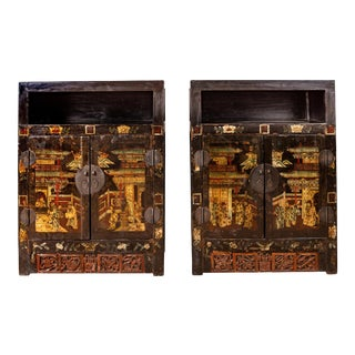 Antique Chinese Display Cabinets with Hand Painted Chinoiserie Motifs - A Pair For Sale