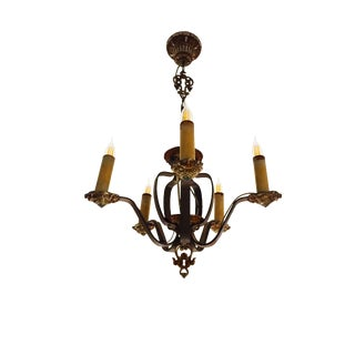 Hammered Iron Mediterranean Revival Chandelier For Sale