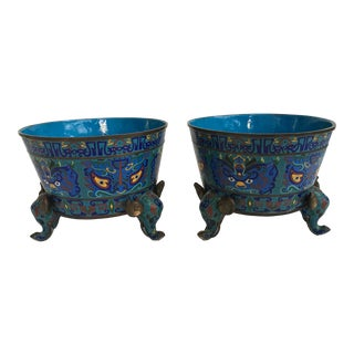 Chinese Cloisonné Planters - A Pair For Sale