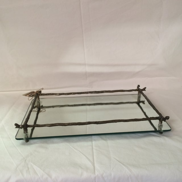Mirrored Silver Faux Bois Tray - Image 5 of 6