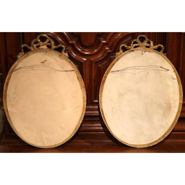 18th Century French Louis XVI Oval Gilt Ribbon Bow Mirrors - a Pair For Sale - Image 9 of 9