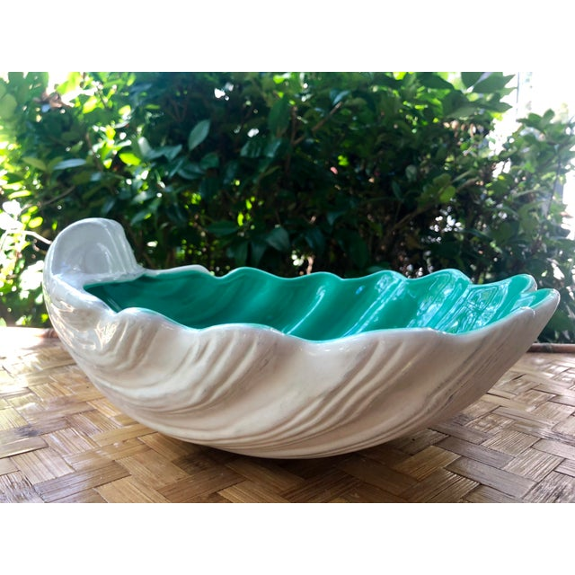Ceramic Large Portuguese Ceramic White Shell Planter Catchall Bowl For Sale - Image 7 of 11