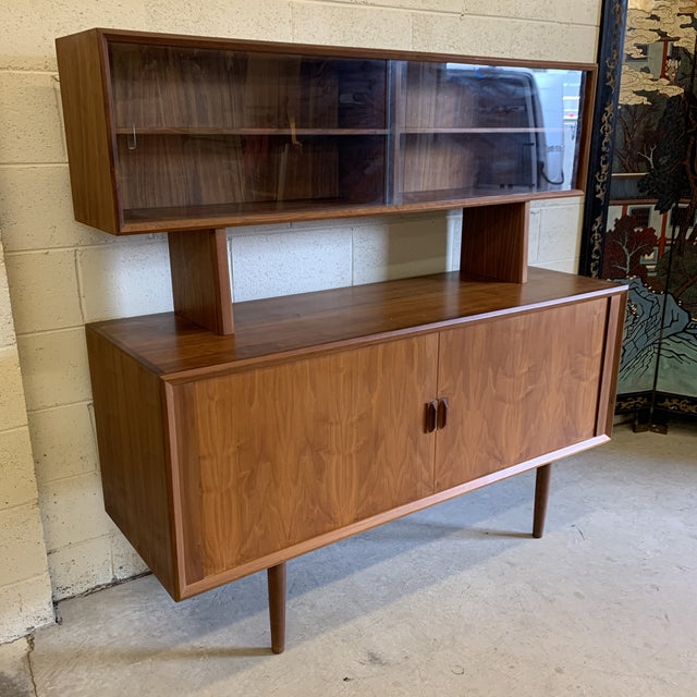 Danish Modern Svend Aage Larsen for Faarup Danish Modern Teak China Cabinet Bookcase Credenza For Sale - Image 3 of 11