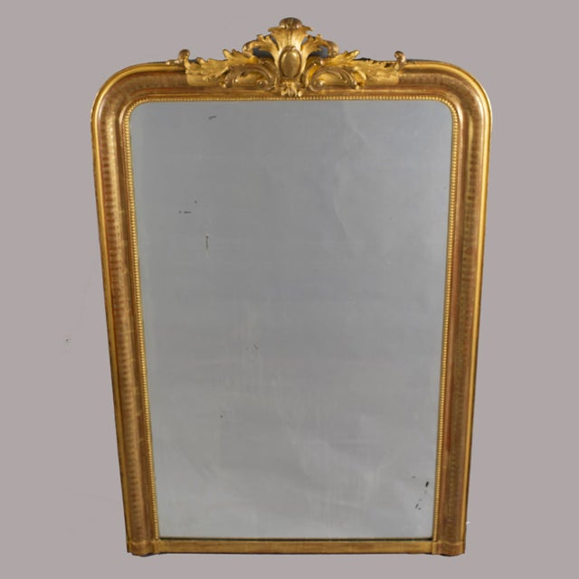 Distinguished Tall Gilt Louis Philippe Mirror With Crest